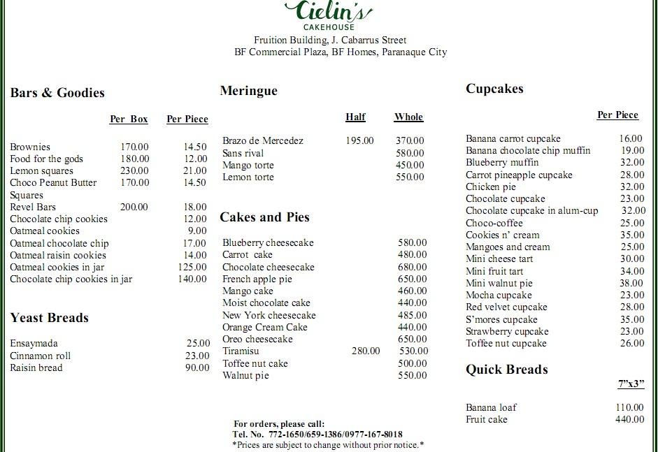 Chocolate cake price list