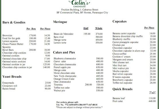 Ceilin's Cakehouse Pricelist 2015